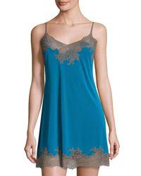 Natori - Blue Enchant Lace-trim Chemise - Lyst