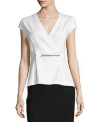 Donna Karan | White Cap-sleeve Peplum Jacket-style Wrap Top | Lyst