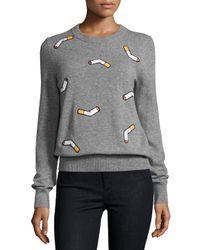 Libertine - Gray Ca I Quit! Cigarette-embroidered Sweater - Lyst