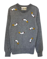 Libertine - Gray Ca I Quit! Cigarette-embroidered Sweater - Lyst