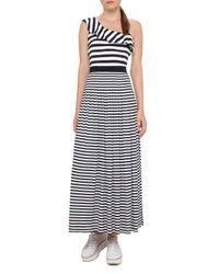 Akris Punto | Blue Striped Ruffled One-shoulder Top | Lyst