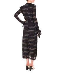 Proenza Schouler - Black Long-sleeve Pinstriped Gauzy Crepe Midi Dress - Lyst