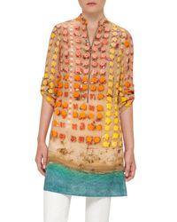 Akris Punto | Orange Riviera-print Zip Silk Tunic | Lyst