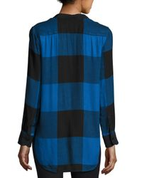 Rag & Bone Blue Danni Buffalo Plaid Blouse