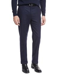Pink Pony - Blue Flat-front Flannel Trousers for Men - Lyst
