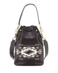 Ralph Lauren - Black Southwestern Leather Bucket Bag - Lyst