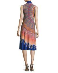 Etro | Blue Marrakech Paisley Silk Sleeveless Dress With Scarf | Lyst