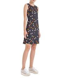 Akris Punto | Black Crepe Multicolor-dot Sleeveless Shift Dress | Lyst
