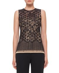 Akris | Black Sleeveless Geometric Lace Top | Lyst