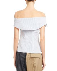 Monse - White Striped Off-shoulder Corset Top - Lyst