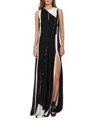 Akris | Black Equation-print Pleated Keyhole Sleeveless Gown | Lyst