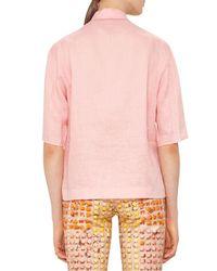 Akris Punto   Pink Half-sleeve Linen Blouse   Lyst