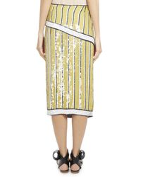 Monse | Yellow Sequin-striped Trompe L'oeil Skirt | Lyst