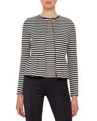 Akris Punto - Black Striped Peplum Zip Jacket - Lyst
