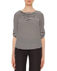 Akris Punto | Black Striped Wave-pleated 3/4-sleeve Blouse | Lyst