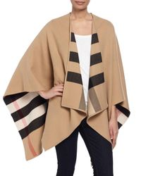 Burberry   Natural Charlotte Check-to-solid Wool Cape   Lyst