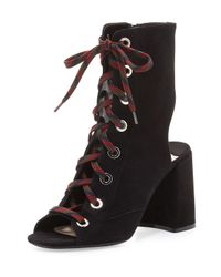 Prada | Black Lace-up Suede Peep-toe Bootie | Lyst