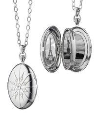 Monica Rich Kosann | Metallic Sterling Silver Starburst Locket Necklace With White Sapphires | Lyst