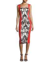 Oscar de la Renta   Red Ikat Jacquard Sleeveless Dress   Lyst