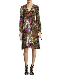 Etro | Black Jungle-print Tie Long-sleeve Dress | Lyst
