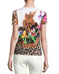 Etro - Black Floral & Animal-print Short-sleeve Sweater - Lyst