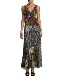 Etro | Black Patchwork Floral Silk Maxi Dress | Lyst