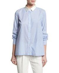 Brunello Cucinelli   Blue Striped Cotton Blouse W/satin Collar   Lyst