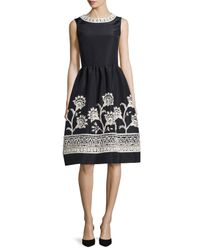Oscar de la Renta | Blue Embroidered Silk Faille Cocktail Dress | Lyst