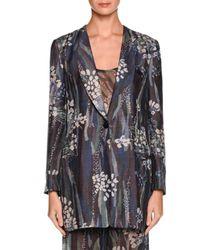 Giorgio Armani | Black Floral One-button Silk Jacket | Lyst