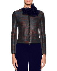 Giorgio Armani | Blue Woven Leather Zip Jacket | Lyst