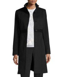 Fleurette   Black Wool Lace-trim Coat   Lyst