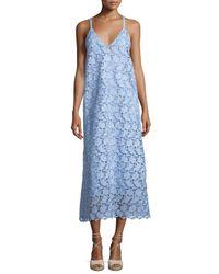 Robert Rodriguez | Blue Sleeveless Guipure Lace Midi Dress | Lyst