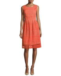 Lela Rose | Red Felicia Sleeveless Windowpane Lace Dress | Lyst