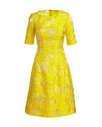 Lela Rose - Yellow Holly Floral Fil Coupe Half-sleeve Dress - Lyst