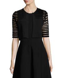 Lela Rose | Black Half-sleeve Windowpane Lace Bolero | Lyst