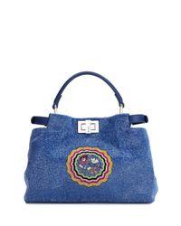 Fendi - Blue Peekaboo Mini Micro Circle Embroidered Silk Satchel Tote Bag - Lyst