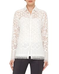 Akris | Black Geometric Lace Button-front Blouse | Lyst