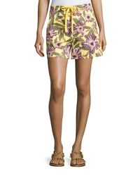 RED Valentino | Multicolor Passionflower-print Stretch-poplin Shorts | Lyst