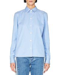 Stella McCartney | Blue Striped Colorblock Button-front Blouse | Lyst