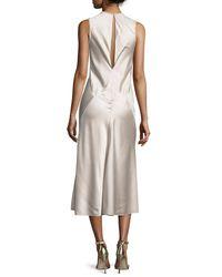 Calvin Klein - Natural Sleeveless Seamed Satin Midi Dress - Lyst
