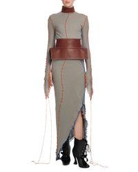 Loewe - Gray Tipped Jersey Midi Dress W/leather Collar - Lyst