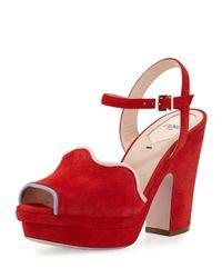 Fendi | Red Waves Suede Platform Sandal | Lyst