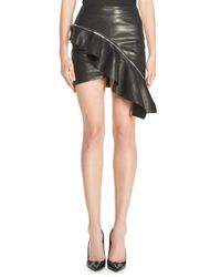 Saint Laurent - Black Ruffled Leather Mini Skirt - Lyst