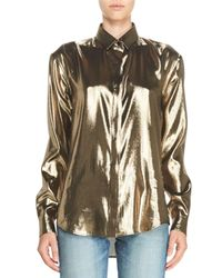 Saint Laurent | Metallic Long-sleeve Lamé Blouse | Lyst