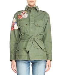 Saint Laurent | Green Patchwork Embroidered Cargo Jacket | Lyst