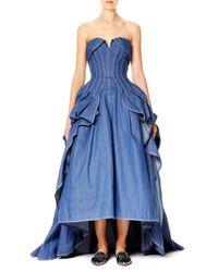 Carolina Herrera | Blue Strapless Denim Ball Gown | Lyst