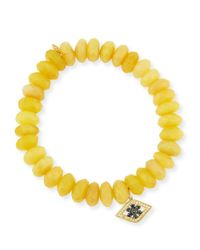 Sydney Evan | 10mm Yellow Opal Beaded Bracelet With Diamond & Sapphire Flower Eye Charm | Lyst
