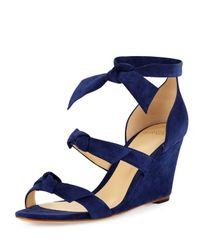 Alexandre Birman | Blue Gianna Anabela Knotted Suede Wedge Sandal | Lyst