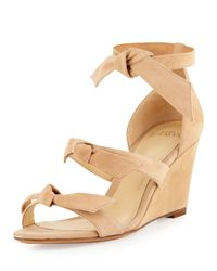 Alexandre Birman | Natural Gianna Anabela Knotted Suede Wedge Sandal | Lyst