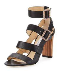 Jimmy Choo | Black Maya Leather 85mm Sandal | Lyst